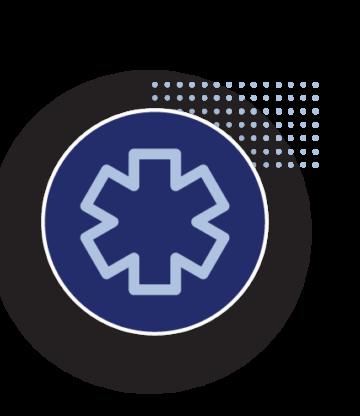 Icon with universal healthcare symbol.